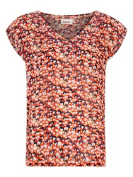 Louche Pepita Heart Print Top Orange
