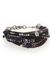Chan Luu Pyrite Brown Sardonyx Abalone Labradorite And Leather Multi Strand Bracelet Black Mix