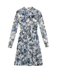 Erdem Devika Printed Silk Chiffon Dress Blue White