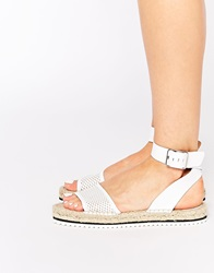 Bronx Ankle Strap Espadrille Leather Flat Sandals White