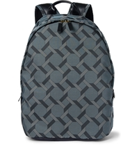 Paul Smith Leather Trimmed Tile Print Backpack Blue