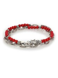 John Hardy Batu Naga Stabilized Coral Bead And Sterling Silver Chain Double Wrap Bracelet Silver Red