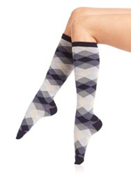 Ilux Dana Diamond Knee High Socks Midnight Black