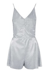 Topshop Metallic Pleated Playsuit Silver