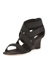 Manolo Blahnik Glassa Strappy Metallic Cork Wedge Sandal Black