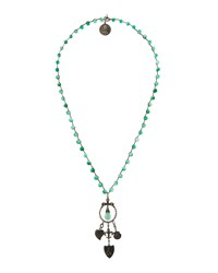 Love Heals Long Amazonite And Jade Hued Beaded Pendant Necklace Women's