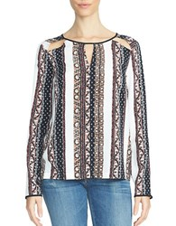 1.State Printed Shoulder Cutout Blouse White