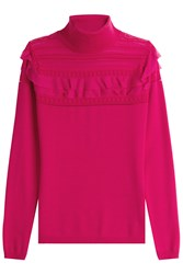 Roberto Cavalli Wool Turtleneck Pullover With Ruffles Pink