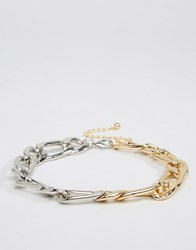 Asos Mixed Chain Link Choker Necklace Mixed Metal