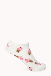 Forever 21 Ice Cream Dream Ankle Socks Cream Pink