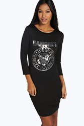 Boohoo Foil Print Ramones Bodycon Dress Black