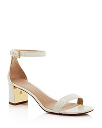 Tory Burch Cecile Ankle Strap Mid Heel Sandals Ivory