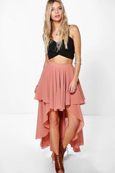 Boohoo High Low Hem Bohemian Maxi Skirt Spice