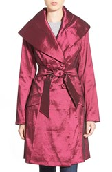 Mycra Pac Designer Wear 'Keaton' Packable Long Belted Shawl Collar Coat Berry