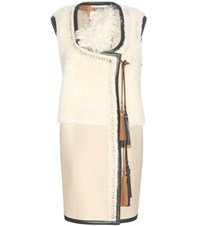 Chloe Shearling And Leather Gilet Beige