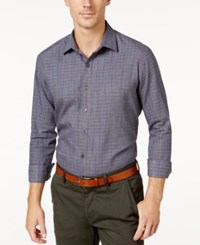 Tasso Elba Men's Classic Fit Long Sleeve Woven Shirt Only At Macy's Brown Combo