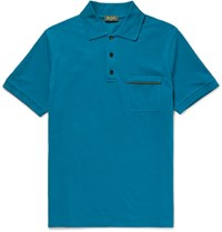 Berluti Slim Fit Contrast Tipped Stretch Cotton Pique Polo Shirt Petrol