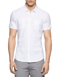 Calvin Klein Short Sleeve Coat Front Shirt White