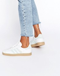 Adidas Originals White And Mint Gazelle Trainers With Gum Sole Vintage White
