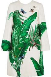 Dolce And Gabbana Embellished Embroidered Cotton Silk Blend Brocade Coat Green