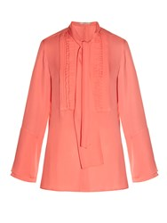 Etro Tie Neck Ruffle Front Silk Blouse Coral