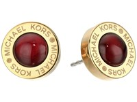 Michael Kors Logo Garnet Mother Of Pearl Status Disc Stud Earrings Gold Earring