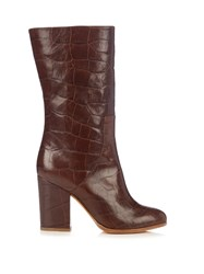 Alexa Wagner Heidi Crocodile Effect Leather Boots Tan