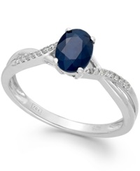 Macy's Sapphire 9 10 Ct. T.W. And Diamond Accent Oval Ring In 14K White Gold Blue