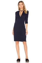 Bobi Long Sleeve Button Front Dress Blue