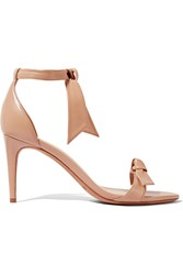 Alexandre Birman Patty Bow Embellished Leather Sandals Beige