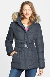 Women's Dkny 'Hayley' Faux Fur Trim Hooded Belted Quilted Jacket Grey