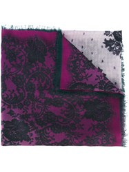 Ungaro Emanuel Lace Print Scarf Pink And Purple