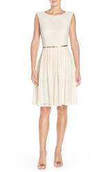 Women's Ellen Tracy Pleated Lace Fit And Flare Dress Ivory Gold