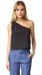 Rachel Antonoff Jules One Shoulder Tie Top Black
