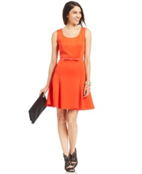 Spense Petite Belt And Pleat Flare Dress Orange