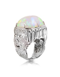 Bernard Delettrez Drama Masks Gold Pave Ring W Opal And Diamonds Silver