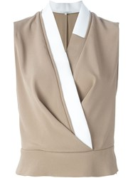 Carven Sleeveless Wrap Blouse Nude And Neutrals