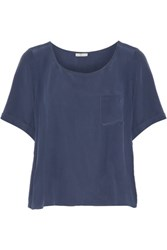 Joie Sarita B Washed Silk Top Storm Blue