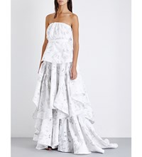Toni Maticevski Strapless Ruched Lace Gown White Tapestry