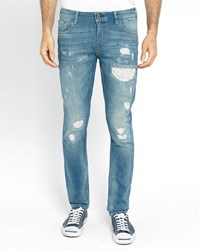 Scotch And Soda Destroy Slim Fit Jeans Blue