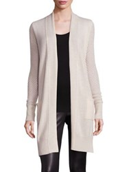 Saks Fifth Avenue Cashmere Pointelle Cardigan Oatmeal Heather