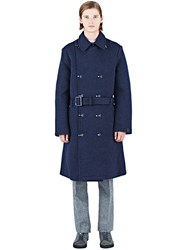 Y 3 Long Wool Trench Coat Navy