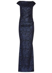 Talbot Runhof Midnight Blue Foiled Crepe Gown Navy