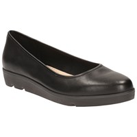 Clarks Evie Low Wedge Heeled Pumps Black Leather