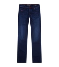 Jacob Cohen Straight Leg Red Stitch Jeans Male Blue