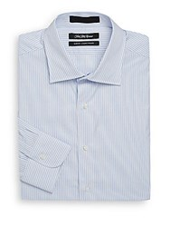 Saks Fifth Avenue Slim Fit Striped Cotton Dress Shirt White Blue