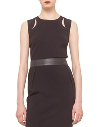 Akris Punto Round Neck Cutout Shoulder Tank Black