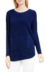 Vince Camuto Women's Two By Waffle Knit Pocket Sweater Naval Navy