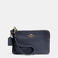 Coach Embossed Small L Zip Wristlet In Leather Light Gold Navy