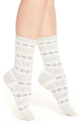 Ralph Lauren Women's Fair Isle Crew Socks Sweatshirt Grey